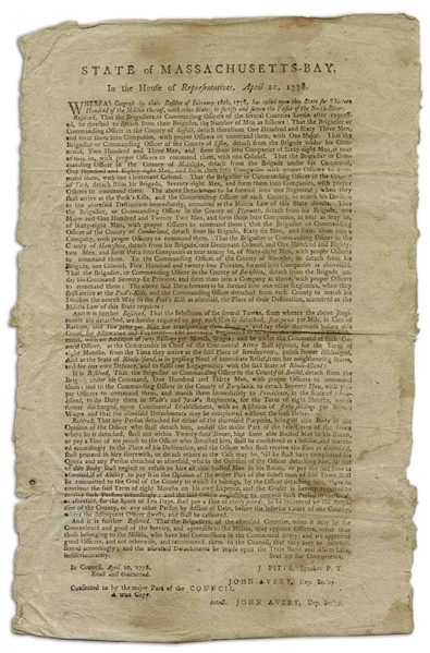 1778 Revolutionary War Broadside, a Call to Arms to Build the ''Great Chain'' on the Hudson River, From West Point to Constitution Island -- Broadside Also Requests Forces for Battle of Rhode Island